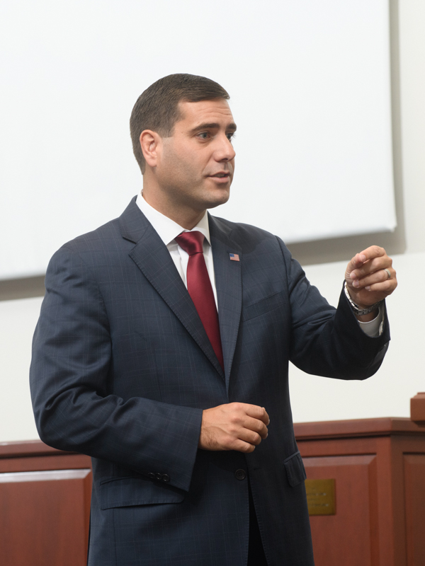 Tim Sini in a courtroom.