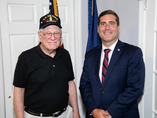 Tim Sini with a veteran.