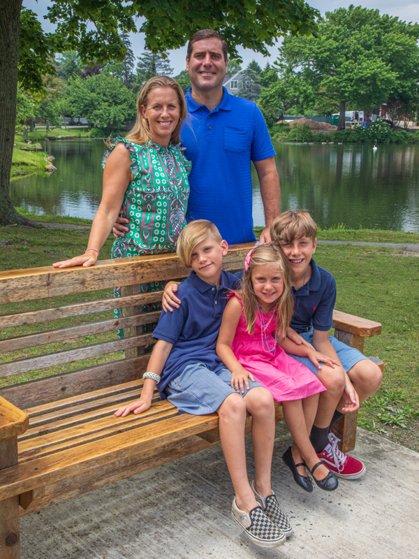 Tim Sini with his wife and three children.