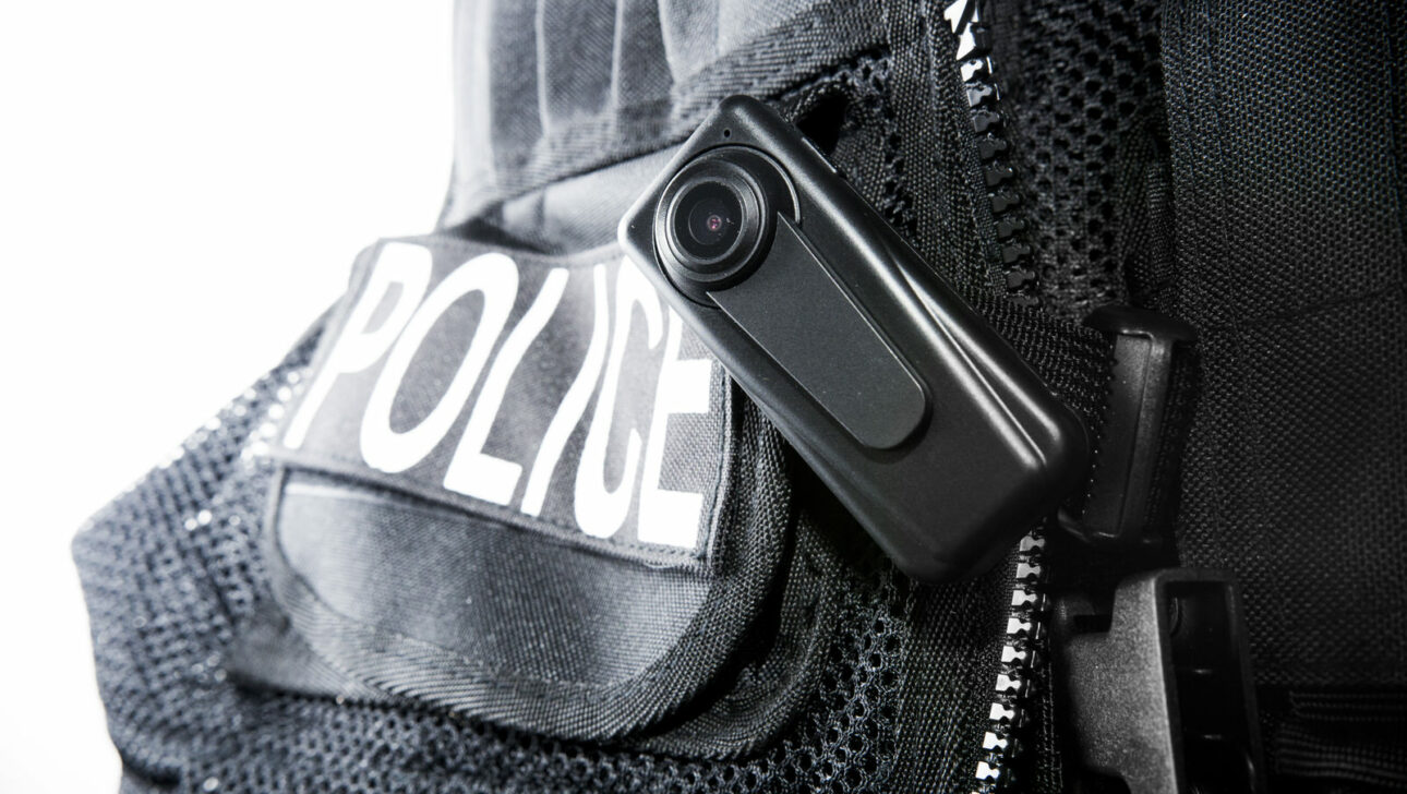 A close up of a police body camera.