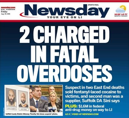 """A news article headline reads, """"2 Charged in Fatal Overdoses""""."""
