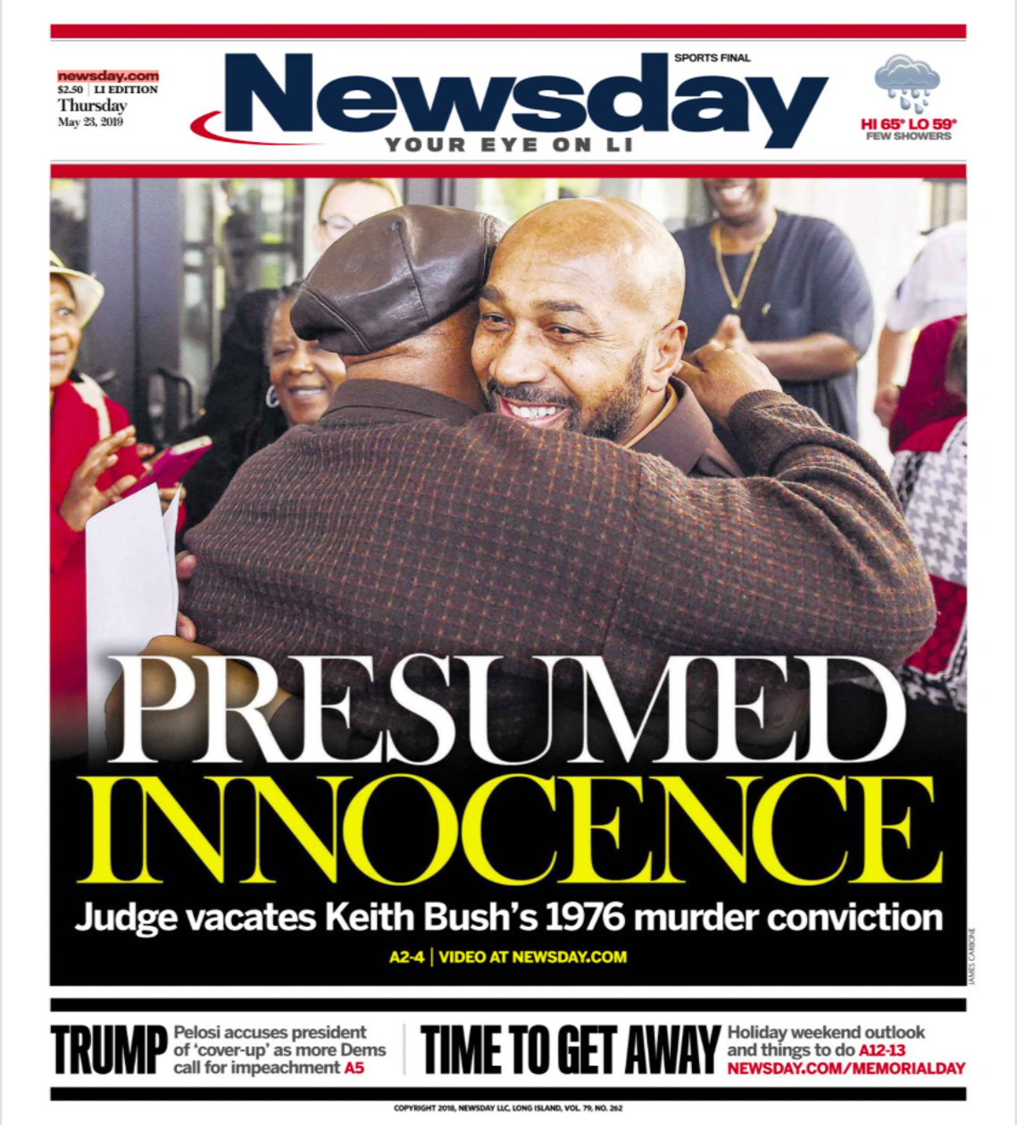 """A newspaper headline with two men hugging each other, and a headline that reads """"Presumed Innocence""""."""