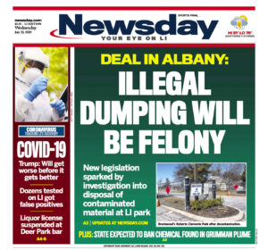 """A newspaper cover that reads, """"Illegal Dumping Will Be Felony""""."""