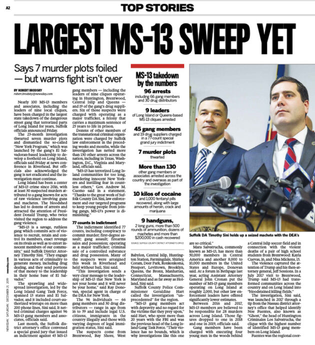 """A newspaper headline that reads, """"Largest MS-13 Sweep Yet""""."""