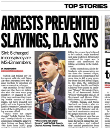 """A newspaper headline that reads, """"Arrests Prevented Slayings, D.A. Says""""."""